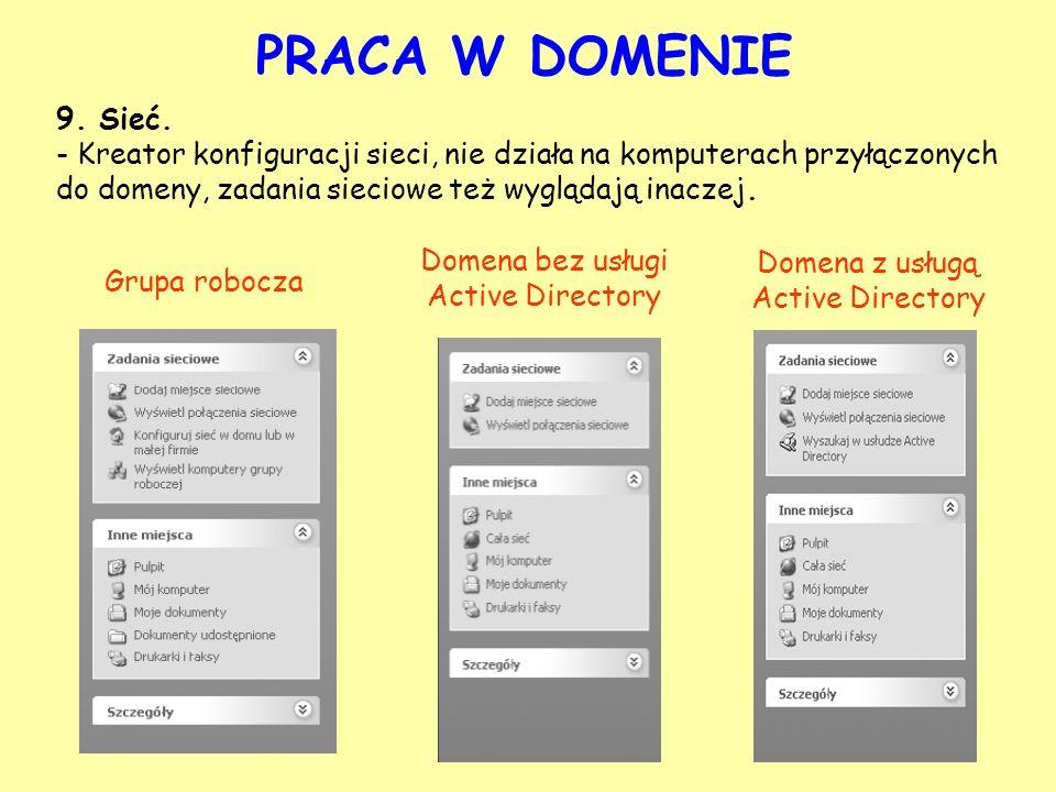 9. Sieć. - Kreator konfiguracji sieci, nie działa na komputerach przyłączonych do domeny, zadania sieciowe też wyglądają inaczej. Grupa robocza Domena