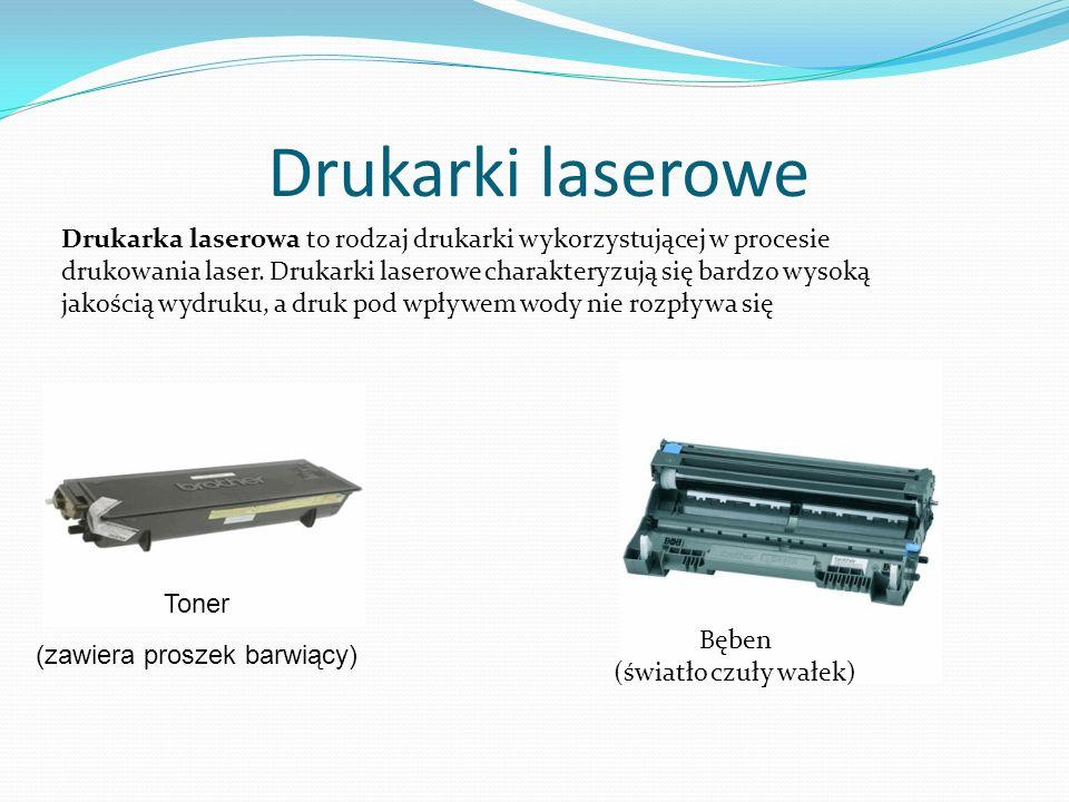 Drukarki laserowe Drukarka laserowa to rodzaj drukarki wykorzystującej w procesie drukowania laser. Drukarki laserowe charakteryzują się bardzo wysoką