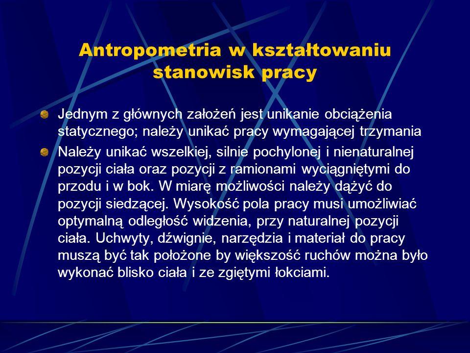 Antropometria w kształtowaniu stanowisk pracy Jednym z głównych założeń jest unikanie obciążenia statycznego; należy unikać pracy wymagającej trzymani