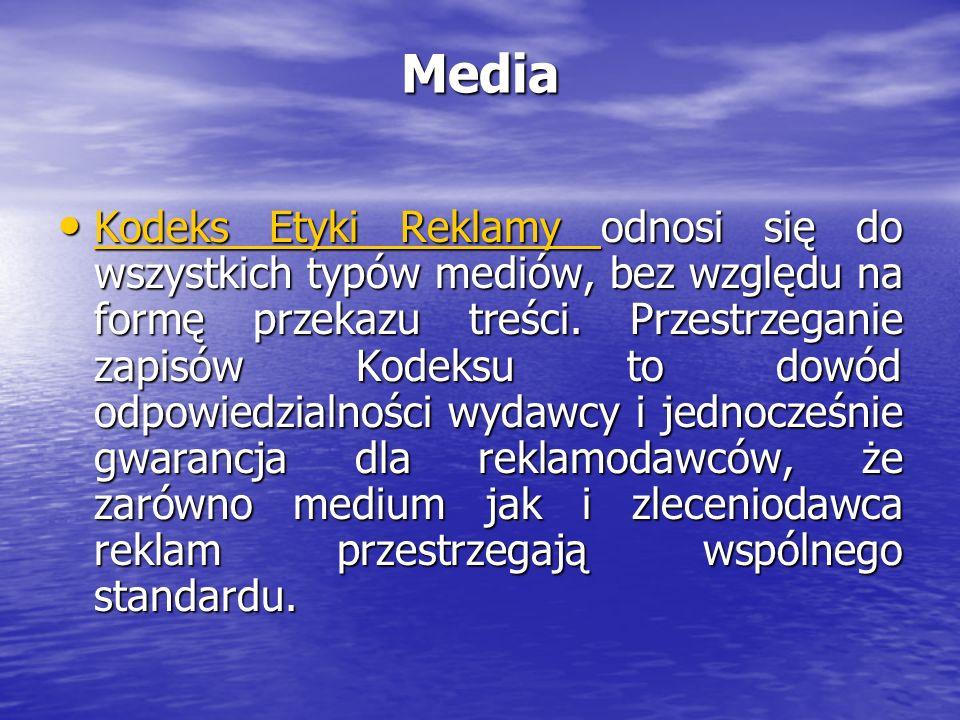 Kodeks Etyki Reklamy Kodeks to zbiór przepisów określających co jest dopuszczalne, a co nieetyczne w przekazie reklamowym reguluje wszystkie aspekty komunikacji reklamowej z uwzględnieniem specyfiki różnych mediów.