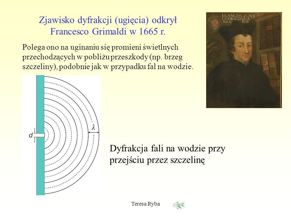 Teresa Ryba Zjawisko dyfrakcji (ugięcia) odkrył Francesco Grimaldi w 1665 r. Polega ono na uginaniu się promieni świetlnych przechodzących w pobliżu p