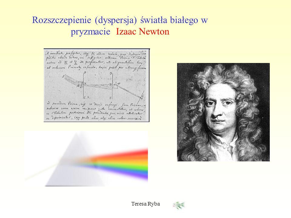 Teresa Ryba Rozszczepienie (dyspersja) światła białego w pryzmacie Izaac Newton