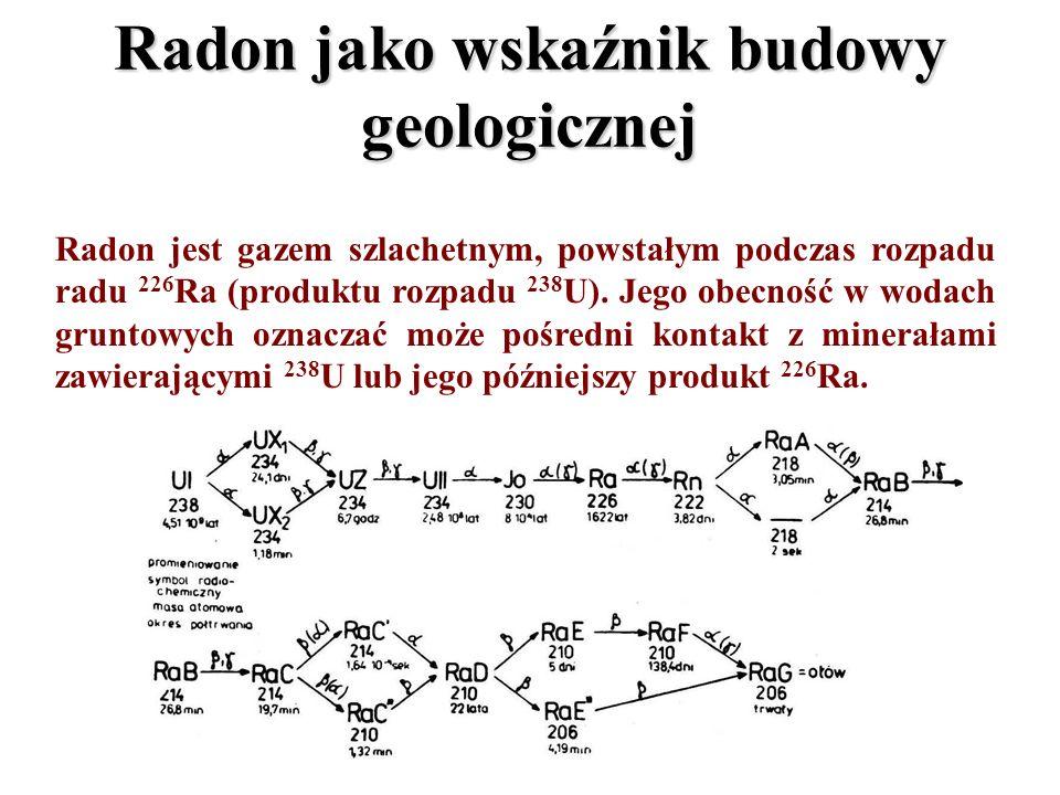 Radon jako wskaźnik budowy geologicznej Radon jest gazem szlachetnym, powstałym podczas rozpadu radu 226 Ra (produktu rozpadu 238 U). Jego obecność w