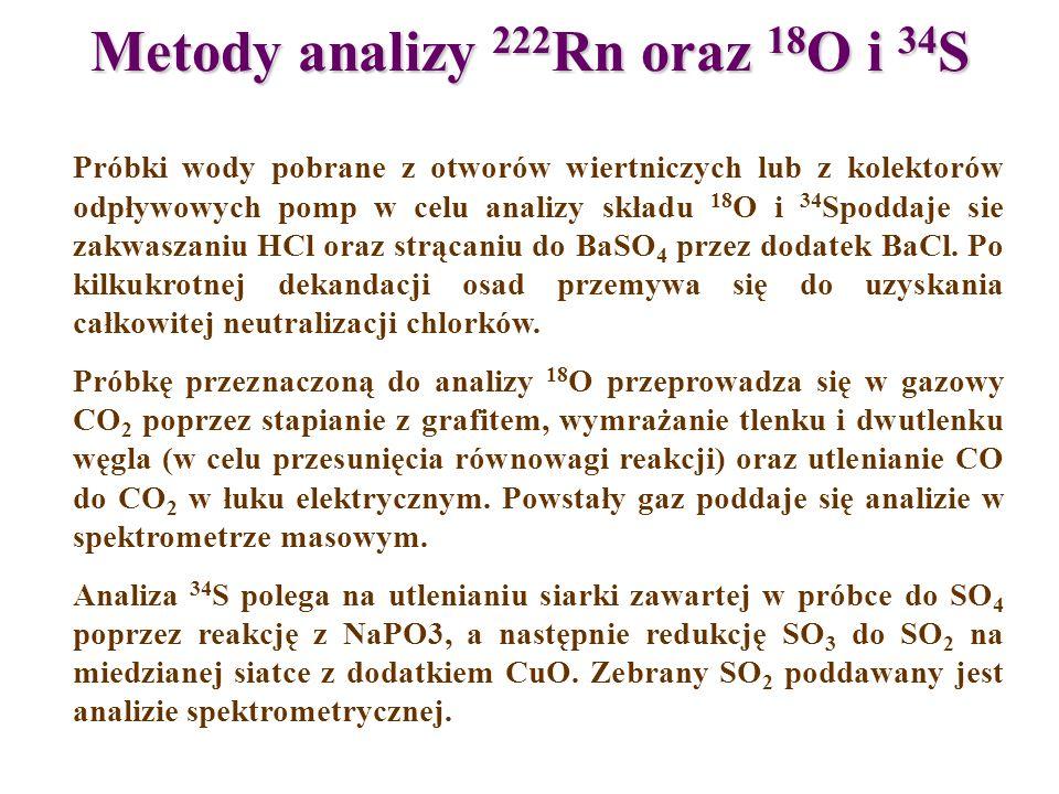 Metody analizy 222 Rn oraz 18 O i 34 S Próbki wody pobrane z otworów wiertniczych lub z kolektorów odpływowych pomp w celu analizy składu 18 O i 34 Sp
