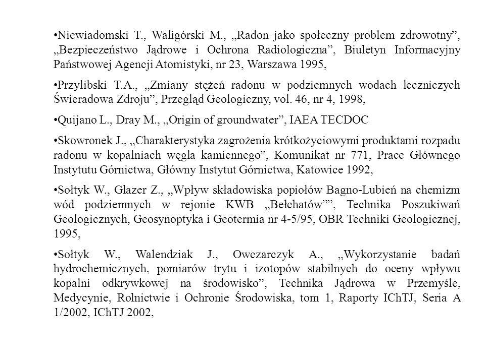 Niewiadomski T., Waligórski M., Radon jako społeczny problem zdrowotny, Bezpieczeństwo Jądrowe i Ochrona Radiologiczna, Biuletyn Informacyjny Państwow