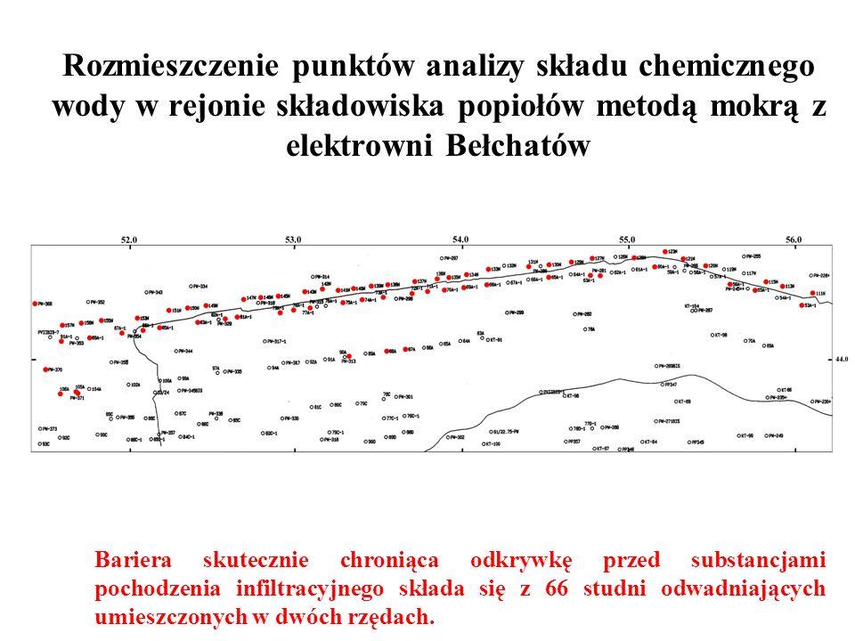 Rozmieszczenie punktów analizy składu chemicznego wody w rejonie składowiska popiołów metodą mokrą z elektrowni Bełchatów Bariera skutecznie chroniąca
