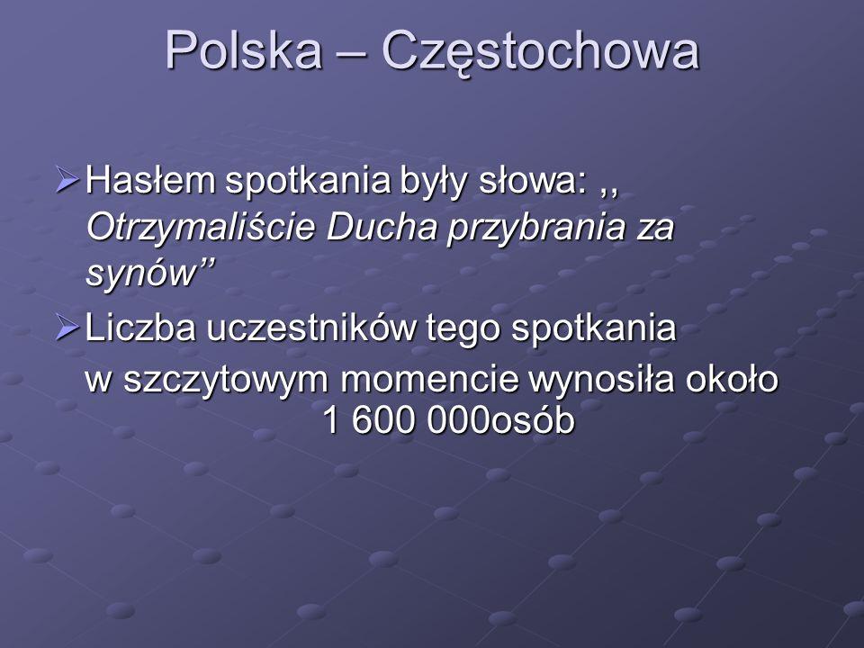 Polska – Częstochowa Hasłem spotkania były słowa:,, Otrzymaliście Ducha przybrania za synów Hasłem spotkania były słowa:,, Otrzymaliście Ducha przybra