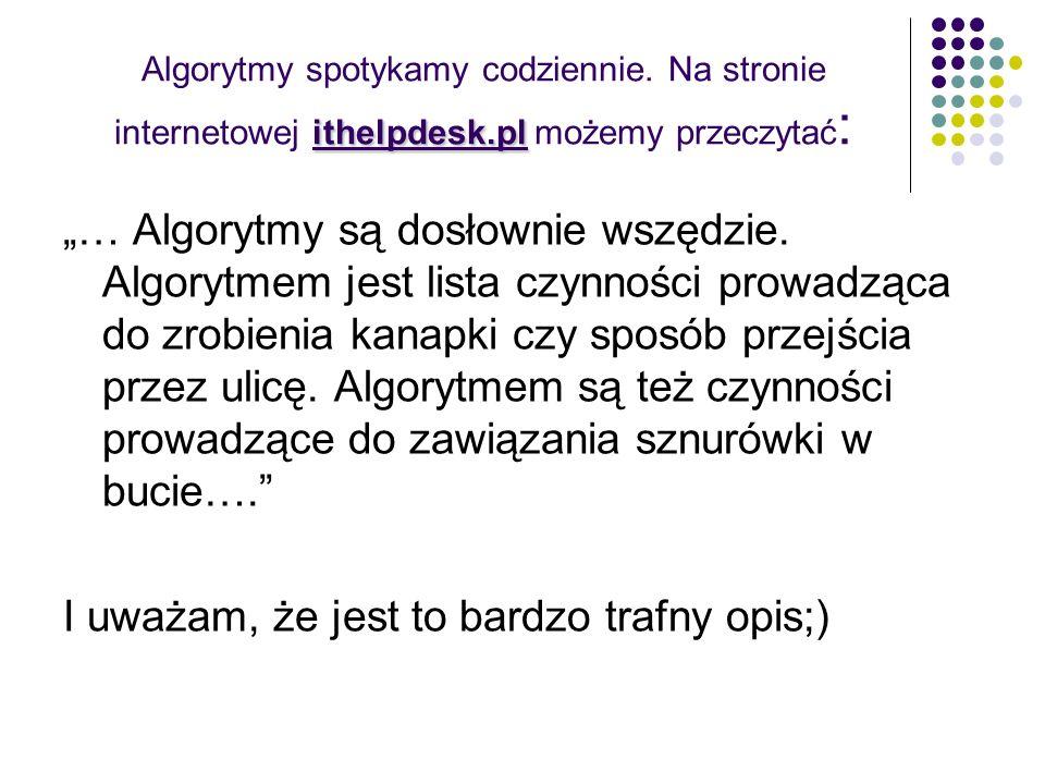 ithelpdesk.pl Algorytmy spotykamy codziennie. Na stronie internetowej ithelpdesk.pl możemy przeczytać : … Algorytmy są dosłownie wszędzie. Algorytmem