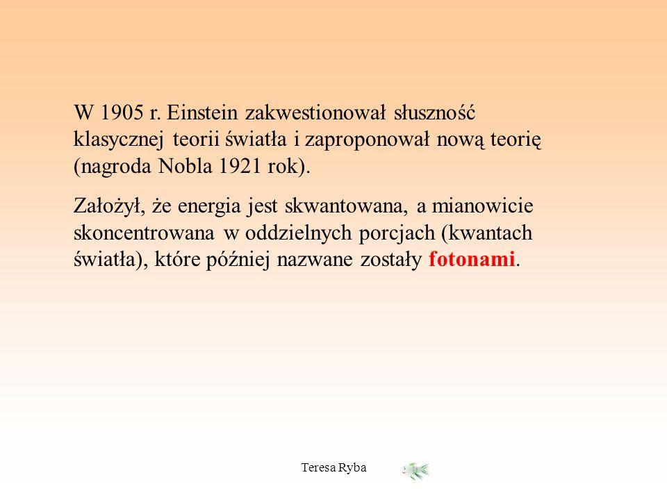W 1905 r. Einstein zakwestionował słuszność klasycznej teorii światła i zaproponował nową teorię (nagroda Nobla 1921 rok). Założył, że energia jest sk