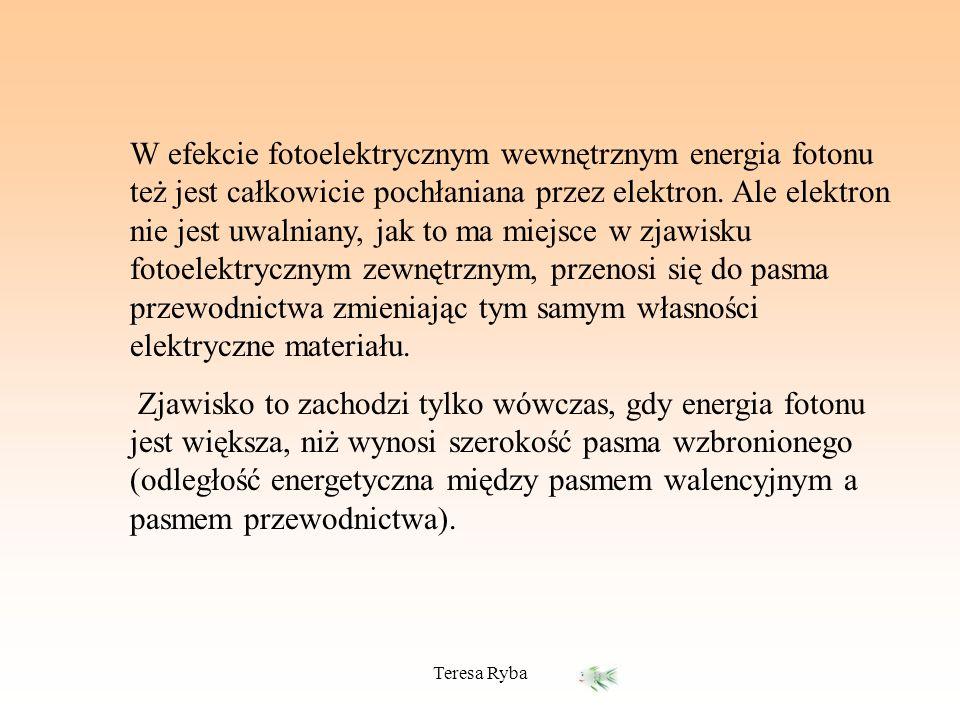 Teresa Ryba W efekcie fotoelektrycznym wewnętrznym energia fotonu też jest całkowicie pochłaniana przez elektron. Ale elektron nie jest uwalniany, jak