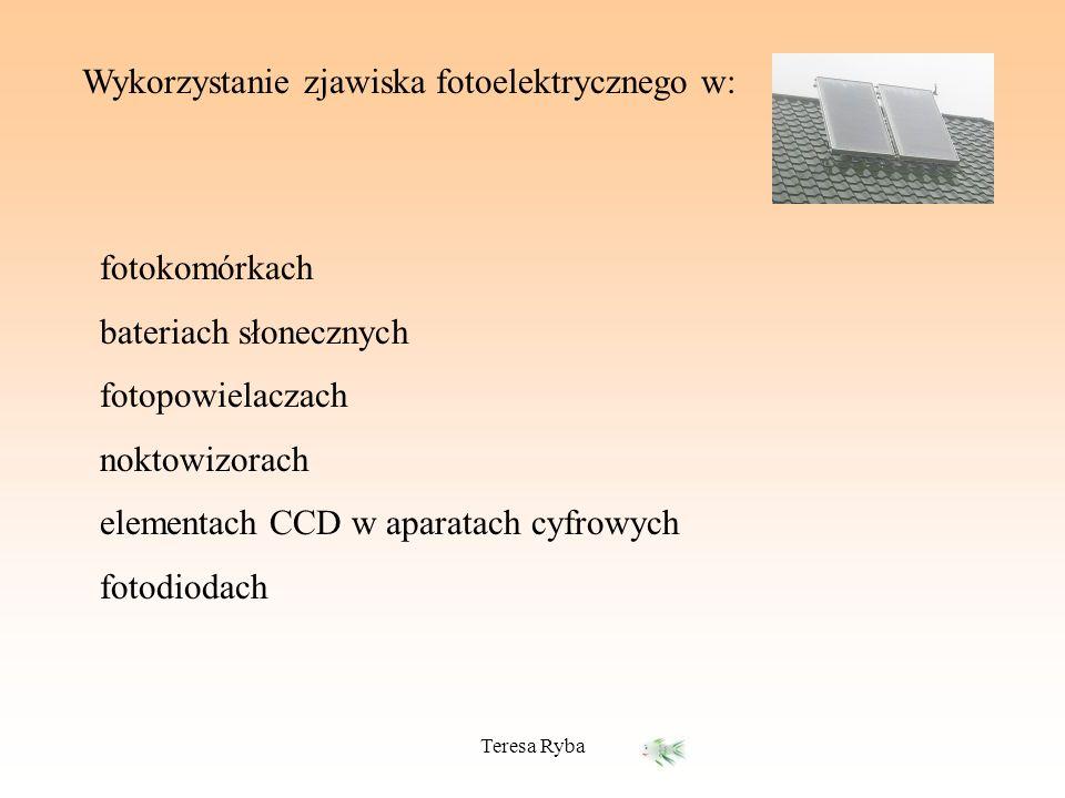 Teresa Ryba Wykorzystanie zjawiska fotoelektrycznego w: fotokomórkach bateriach słonecznych fotopowielaczach noktowizorach elementach CCD w aparatach