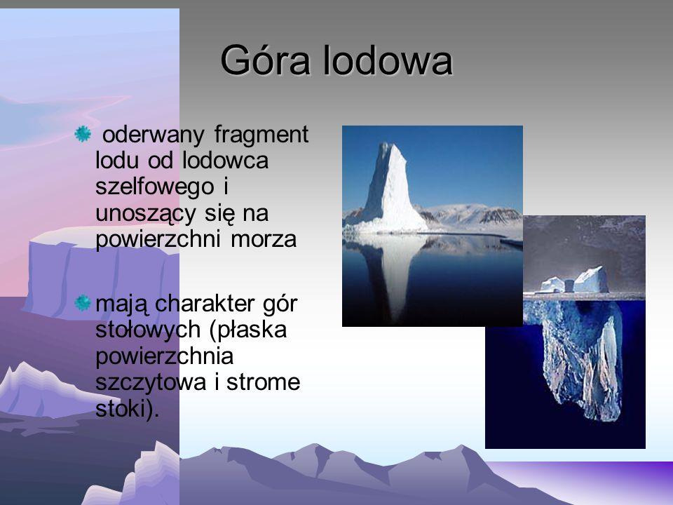 Lodowiec szelfowy brzeżna część lądolodu unosi się swobodnie na powierzchni wody Powierzchnia lodowca szelfowego jest płaska kończy się lodowym klifem
