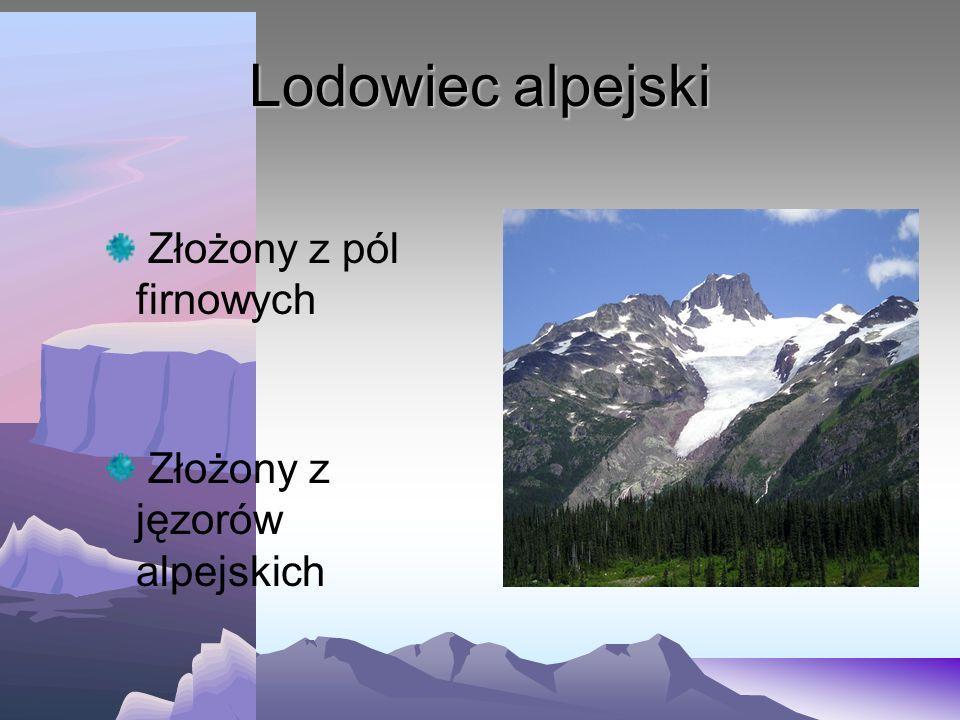 Kilka pojęć związanych z lodowcami pole firnowe - miejsce gromadzenia się śniegu i lodu jęzor lodowcowy - obszar topnienia lodowca