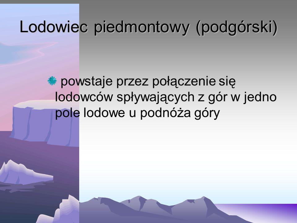 Lodowiec piedmontowy (podgórski) powstaje przez połączenie się lodowców spływających z gór w jedno pole lodowe u podnóża góry
