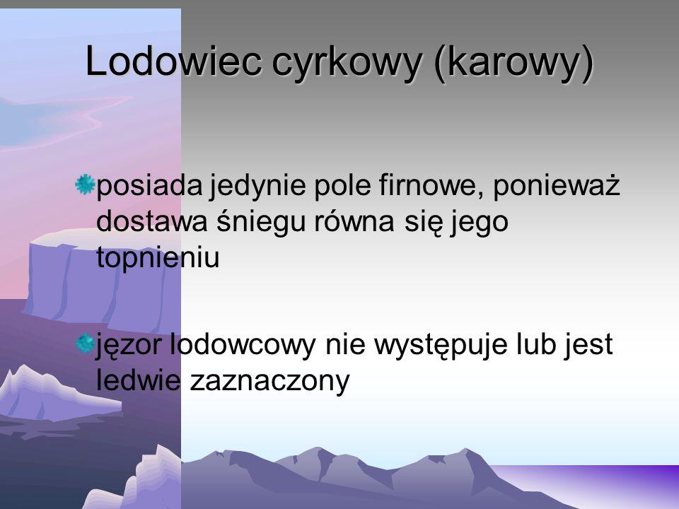 Lodowiec cyrkowy (karowy) posiada jedynie pole firnowe, ponieważ dostawa śniegu równa się jego topnieniu jęzor lodowcowy nie występuje lub jest ledwie zaznaczony