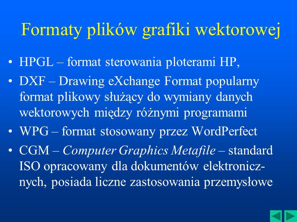 Formaty plików grafiki wektorowej WMF – Windows Meta File – uniwersalny format zapisu wektorowego stosowany w MS Windows CDR – format stosowany przez