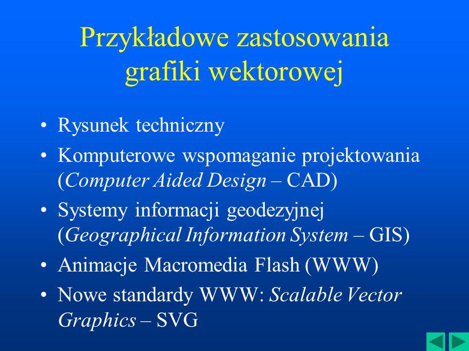 Przykładowe zastosowania grafiki wektorowej Rysunek techniczny Komputerowe wspomaganie projektowania (Computer Aided Design – CAD) Systemy informacji geodezyjnej (Geographical Information System – GIS) Animacje Macromedia Flash (WWW) Nowe standardy WWW: Scalable Vector Graphics – SVG