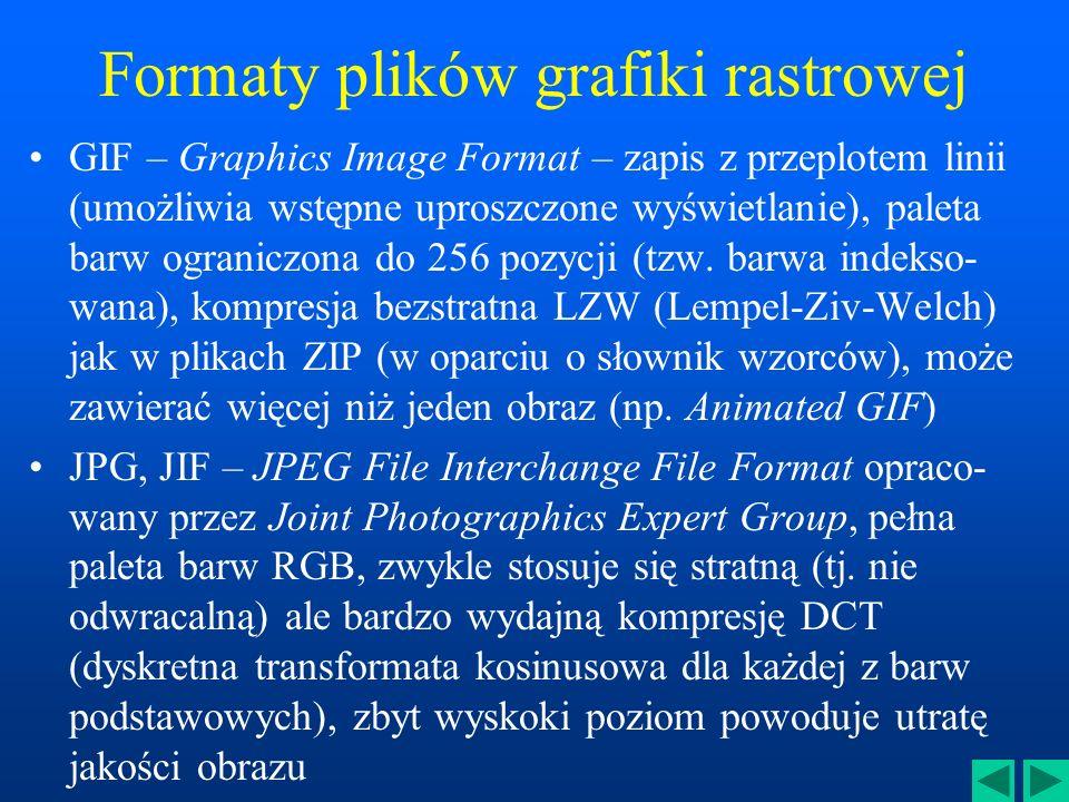 Formaty plików grafiki rastrowej GIF – Graphics Image Format – zapis z przeplotem linii (umożliwia wstępne uproszczone wyświetlanie), paleta barw ograniczona do 256 pozycji (tzw.