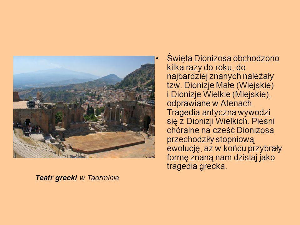 Święta Dionizosa obchodzono kilka razy do roku, do najbardziej znanych należały tzw. Dionizje Małe (Wiejskie) i Dionizje Wielkie (Miejskie), odprawian