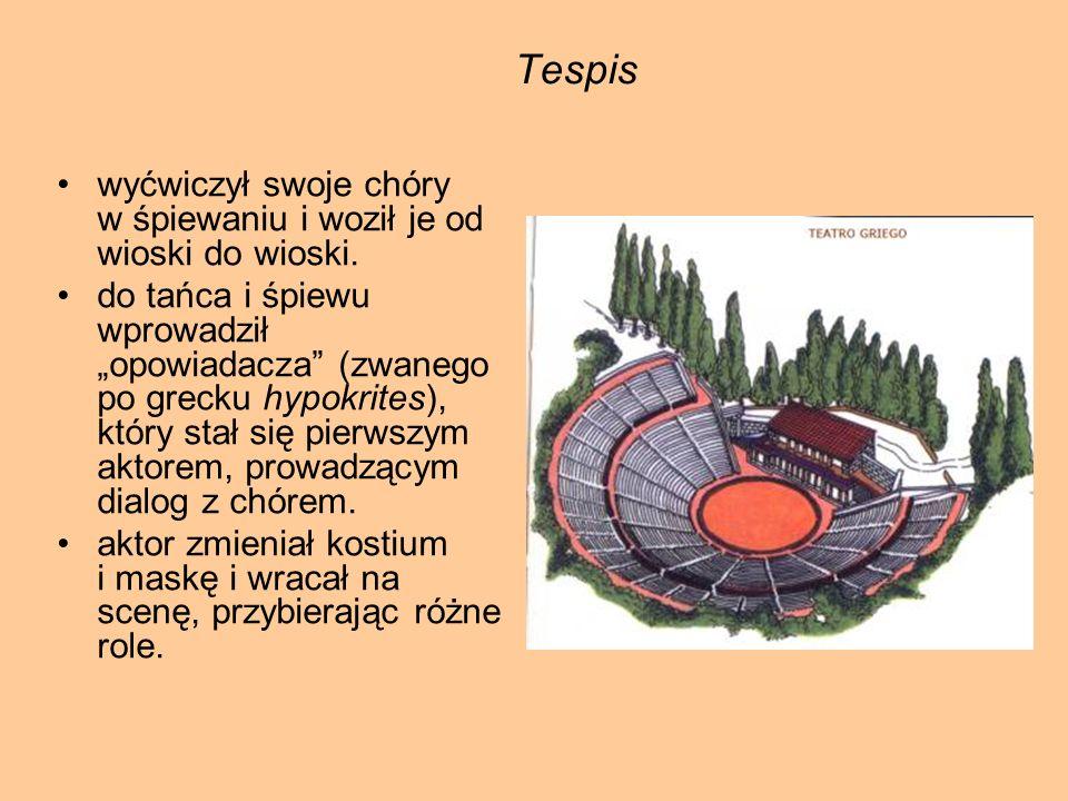 Tespis wyćwiczył swoje chóry w śpiewaniu i woził je od wioski do wioski. do tańca i śpiewu wprowadził opowiadacza (zwanego po grecku hypokrites), któr