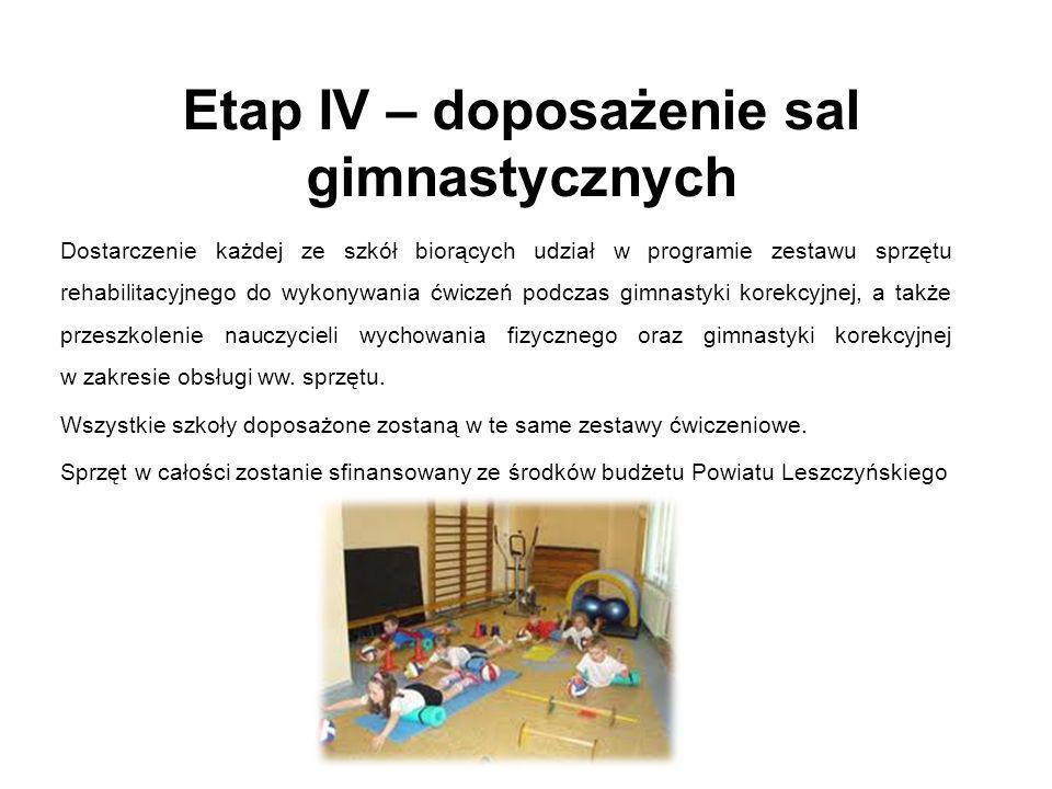 Etap IV – doposażenie sal gimnastycznych Dostarczenie każdej ze szkół biorących udział w programie zestawu sprzętu rehabilitacyjnego do wykonywania ćw