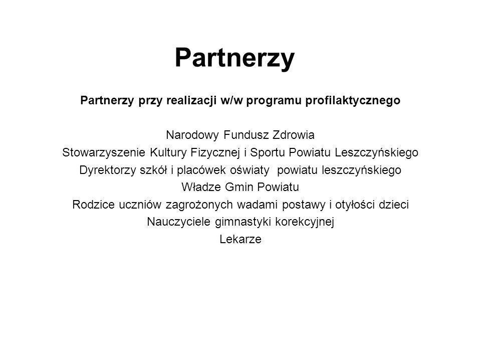 Partnerzy Partnerzy przy realizacji w/w programu profilaktycznego Narodowy Fundusz Zdrowia Stowarzyszenie Kultury Fizycznej i Sportu Powiatu Leszczyńs