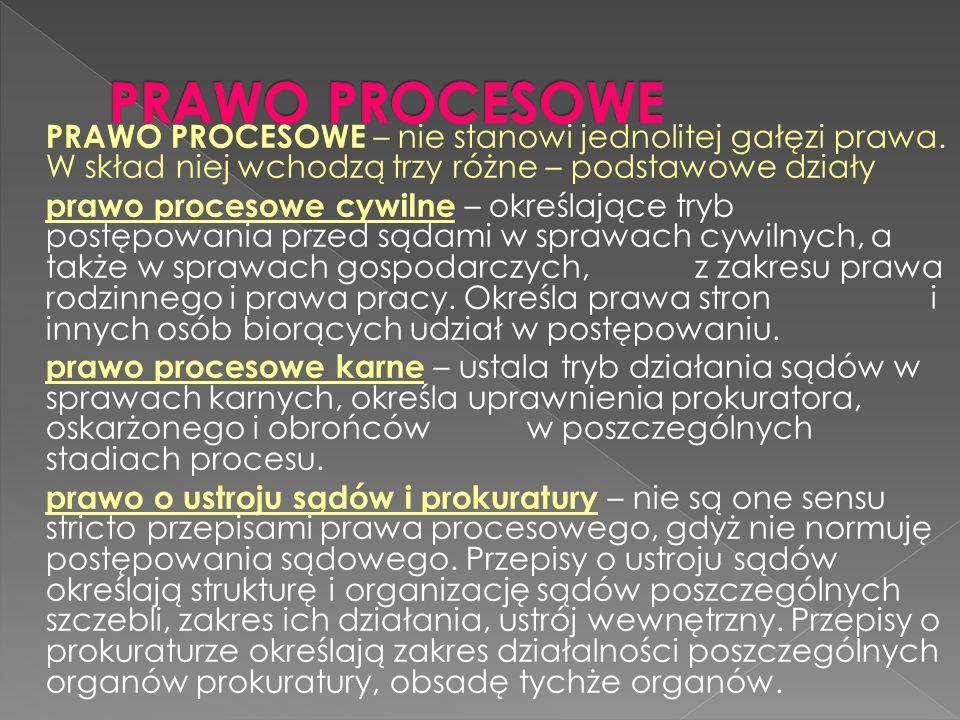 PRAWO PROCESOWE – nie stanowi jednolitej gałęzi prawa. W skład niej wchodzą trzy różne – podstawowe działy prawo procesowe cywilne – określające tryb
