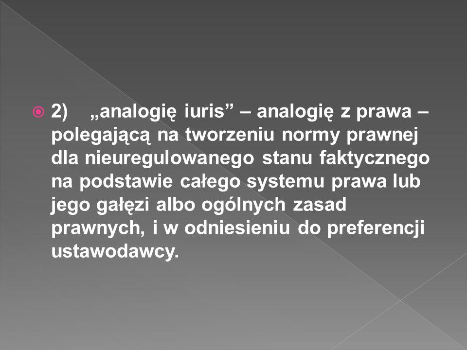 2) analogię iuris – analogię z prawa – polegającą na tworzeniu normy prawnej dla nieuregulowanego stanu faktycznego na podstawie całego systemu prawa lub jego gałęzi albo ogólnych zasad prawnych, i w odniesieniu do preferencji ustawodawcy.
