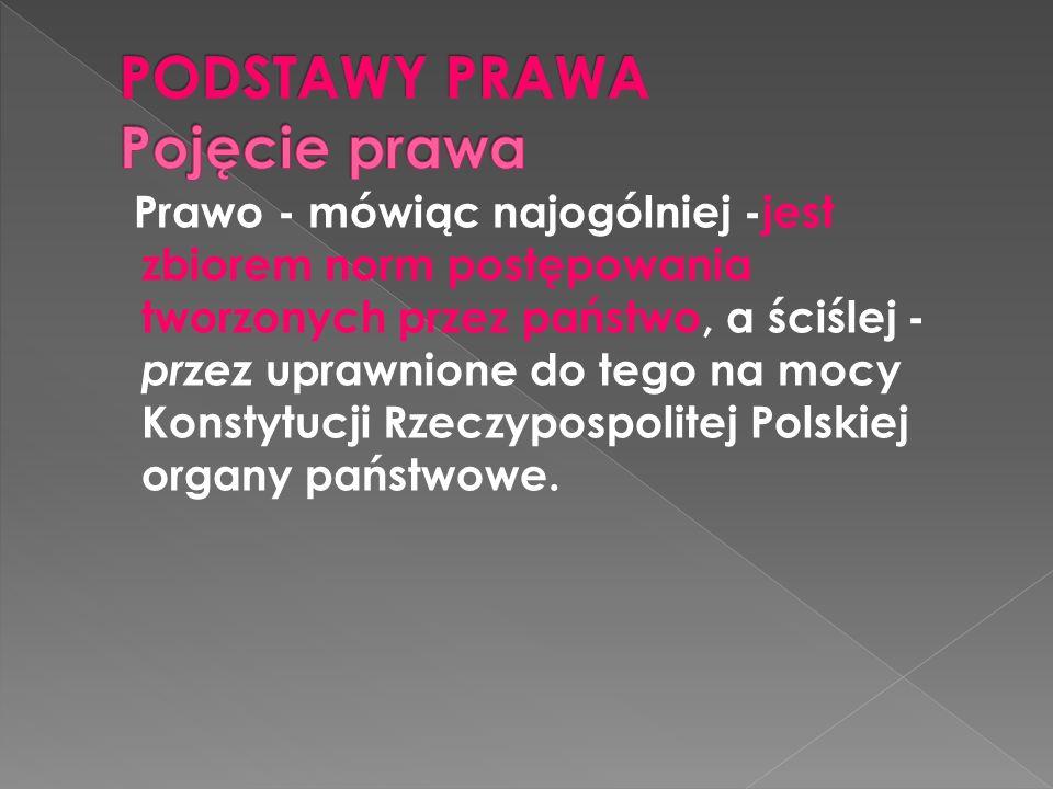 Prawo - mówiąc najogólniej -jest zbiorem norm postępowania tworzonych przez państwo, a ściślej - przez uprawnione do tego na mocy Konstytucji Rzeczypospolitej Polskiej organy państwowe.