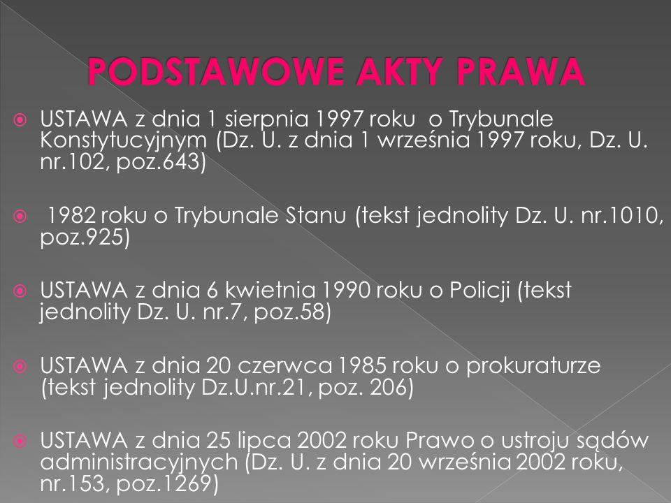 USTAWA z dnia 1 sierpnia 1997 roku o Trybunale Konstytucyjnym (Dz. U. z dnia 1 września 1997 roku, Dz. U. nr.102, poz.643) 1982 roku o Trybunale Stanu