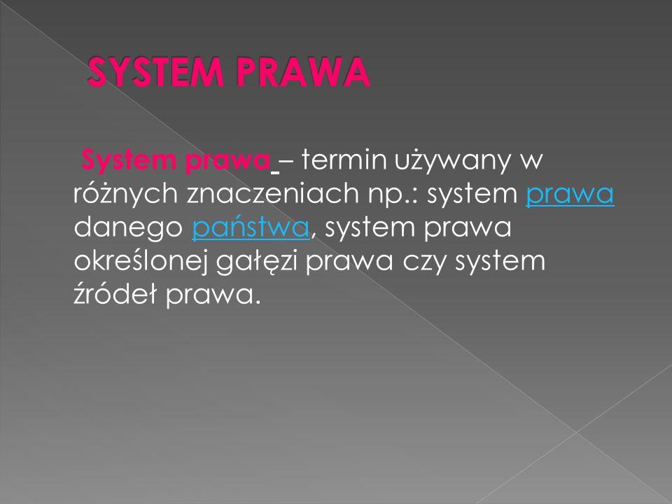 System prawa – termin używany w różnych znaczeniach np.: system prawa danego państwa, system prawa określonej gałęzi prawa czy system źródeł prawa.prawapaństwa