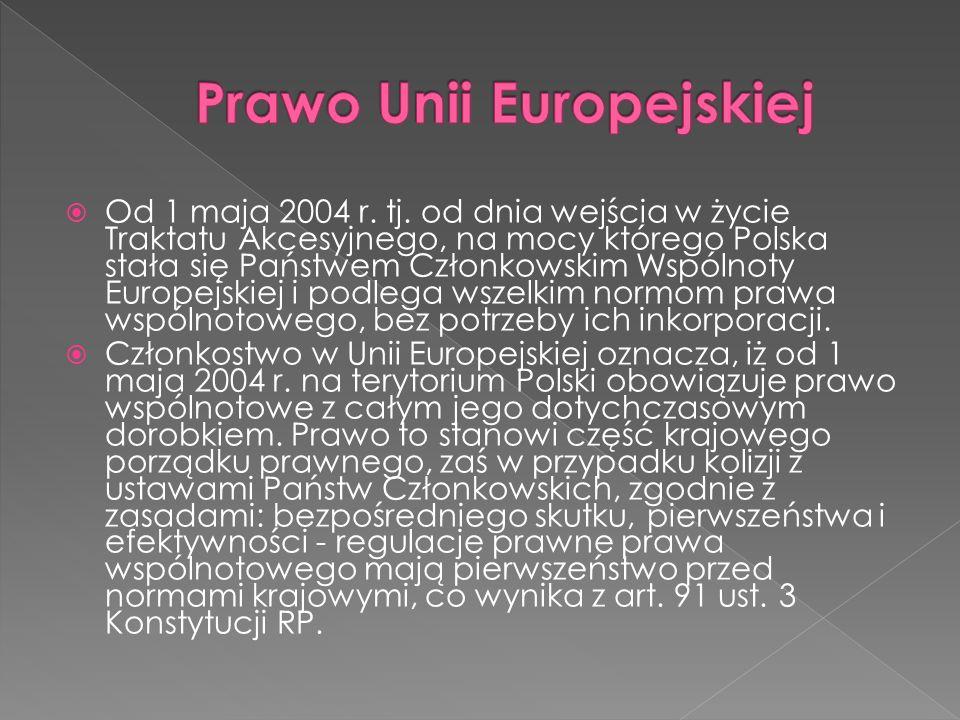 Od 1 maja 2004 r. tj. od dnia wejścia w życie Traktatu Akcesyjnego, na mocy którego Polska stała się Państwem Członkowskim Wspólnoty Europejskiej i po
