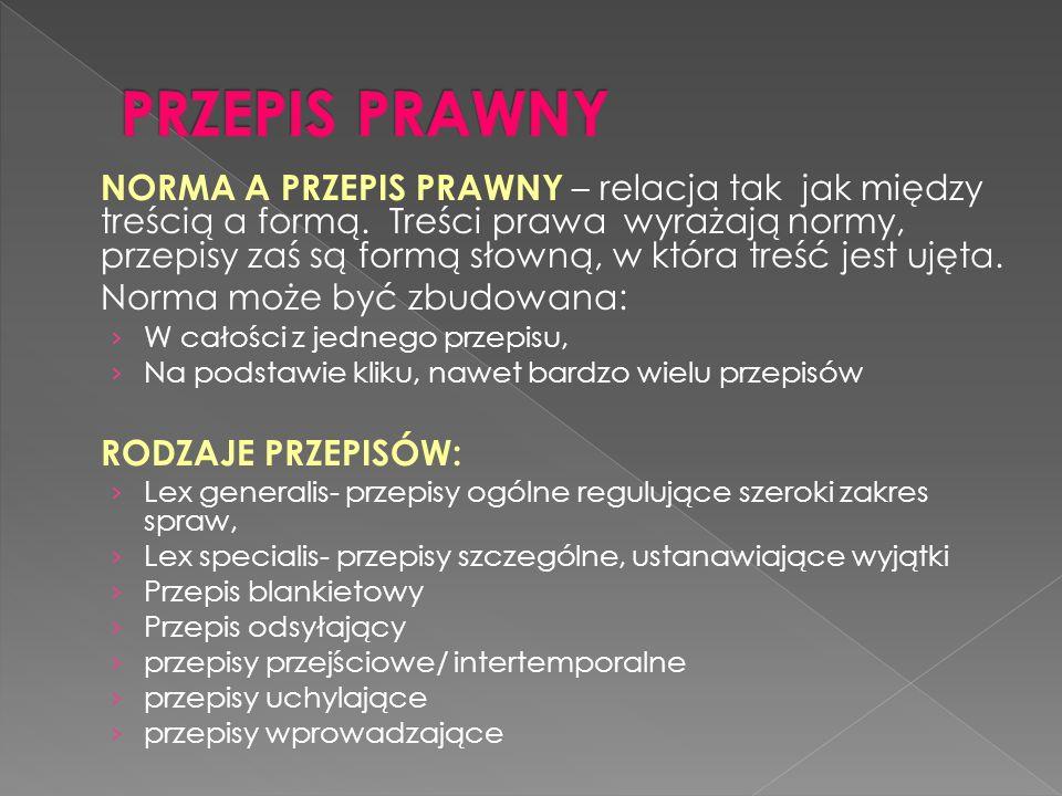 NORMA A PRZEPIS PRAWNY – relacja tak jak między treścią a formą.