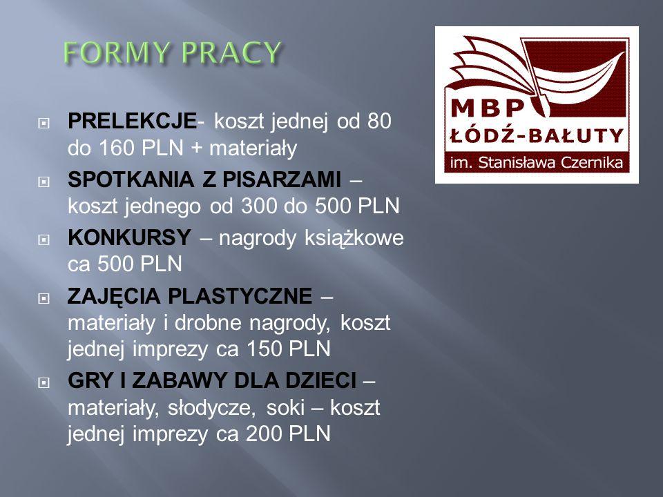 PRELEKCJE- koszt jednej od 80 do 160 PLN + materiały SPOTKANIA Z PISARZAMI – koszt jednego od 300 do 500 PLN KONKURSY – nagrody książkowe ca 500 PLN Z