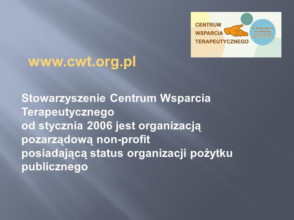 Stowarzyszenie Centrum Wsparcia Terapeutycznego od stycznia 2006 jest organizacją pozarządową non-profit posiadającą status organizacji pożytku public
