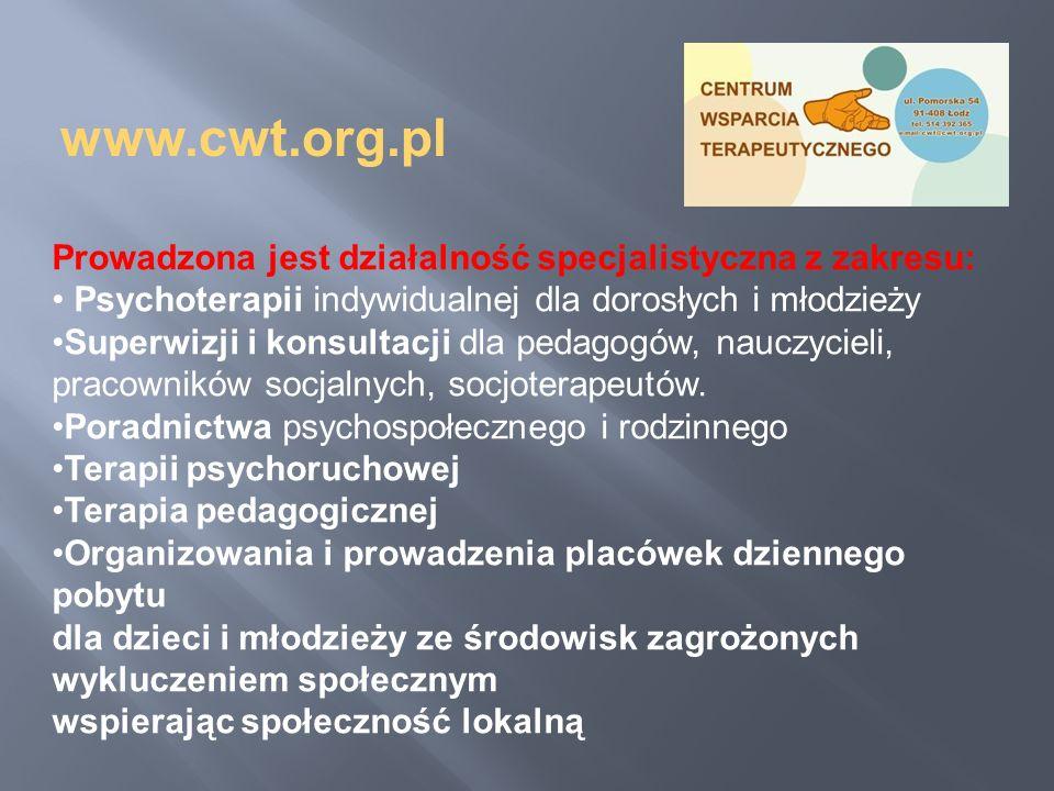 Prowadzona jest działalność specjalistyczna z zakresu: Psychoterapii indywidualnej dla dorosłych i młodzieży Superwizji i konsultacji dla pedagogów, n