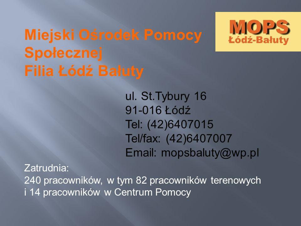 Miejski Ośrodek Pomocy Społecznej Filia Łódź Bałuty ul. St.Tybury 16 91-016 Łódź Tel: (42)6407015 Tel/fax: (42)6407007 Email: mopsbaluty@wp.pl Zatrudn
