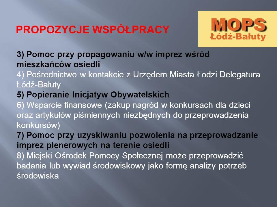 3) Pomoc przy propagowaniu w/w imprez wśród mieszkańców osiedli 4) Pośrednictwo w kontakcie z Urzędem Miasta Łodzi Delegatura Łódź-Bałuty 5) Popierani