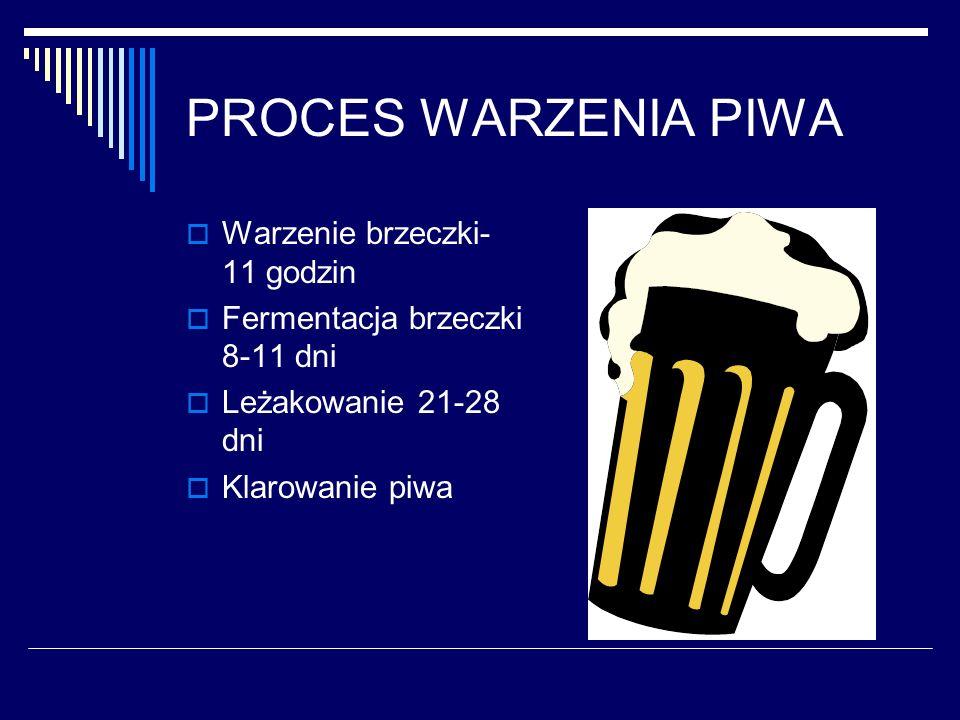 PROCES WARZENIA PIWA Warzenie brzeczki- 11 godzin Fermentacja brzeczki 8-11 dni Leżakowanie 21-28 dni Klarowanie piwa