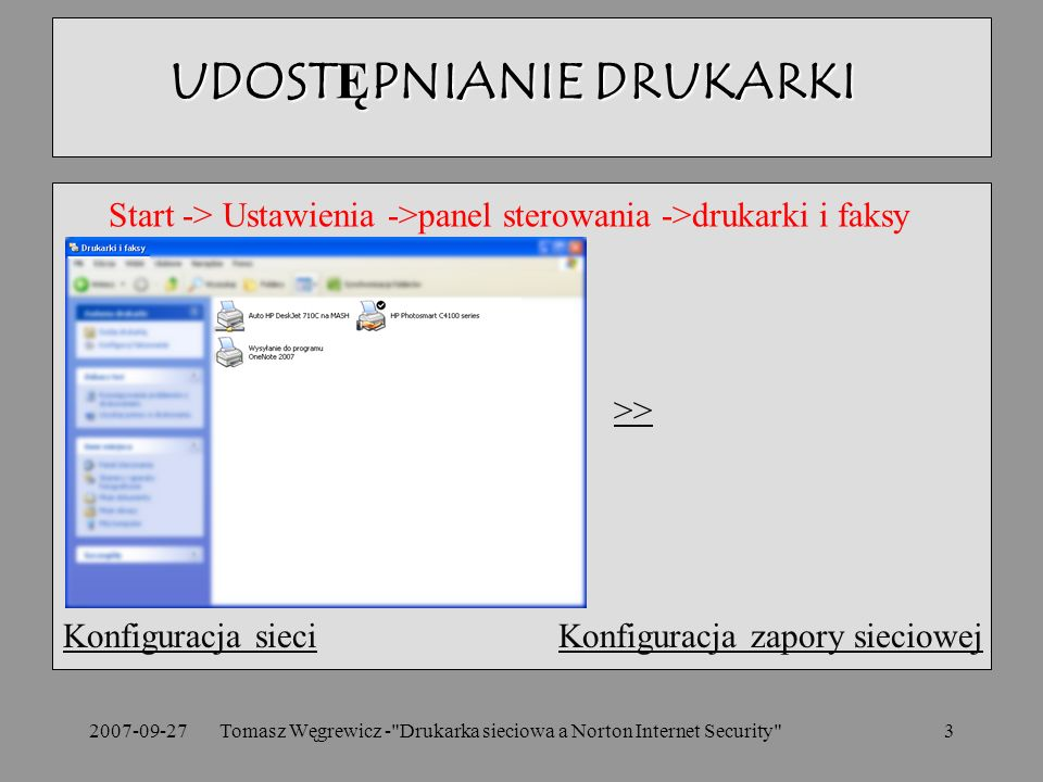 2007-09-27Tomasz Węgrewicz - Drukarka sieciowa a Norton Internet Security 3 Konfiguracja sieciKonfiguracja sieci Konfiguracja zapory sieciowejKonfiguracja zapory sieciowej UDOSTĘPNIANIE DRUKARKI Start -> Ustawienia ->panel sterowania ->drukarki i faksy >>