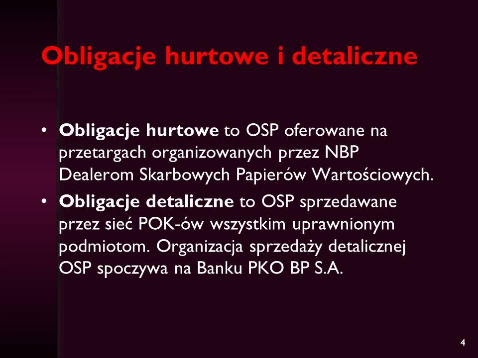 4 Obligacje hurtowe i detaliczne Obligacje hurtowe to OSP oferowane na przetargach organizowanych przez NBP Dealerom Skarbowych Papierów Wartościowych.