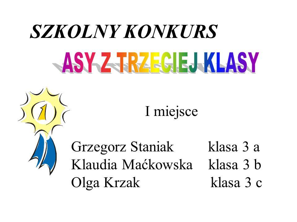 SZKOLNY KONKURS I miejsce Grzegorz Staniak klasa 3 a Klaudia Maćkowska klasa 3 b Olga Krzak klasa 3 c