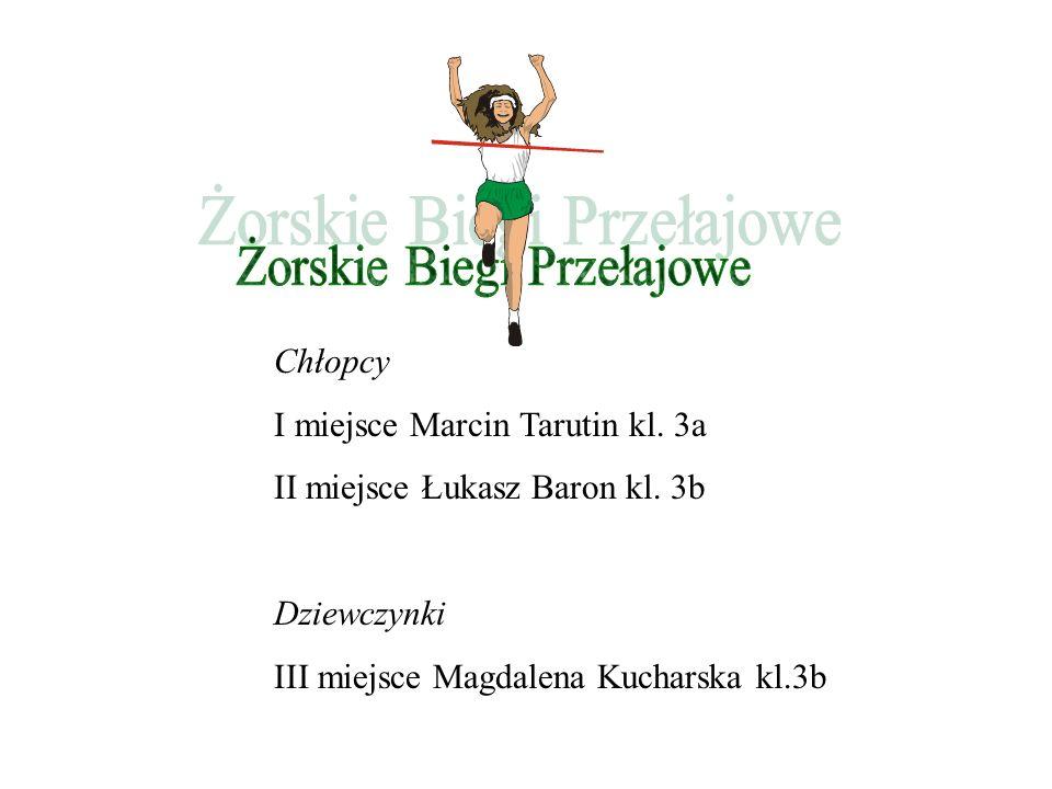 Chłopcy I miejsce Marcin Tarutin kl. 3a II miejsce Łukasz Baron kl. 3b Dziewczynki III miejsce Magdalena Kucharska kl.3b