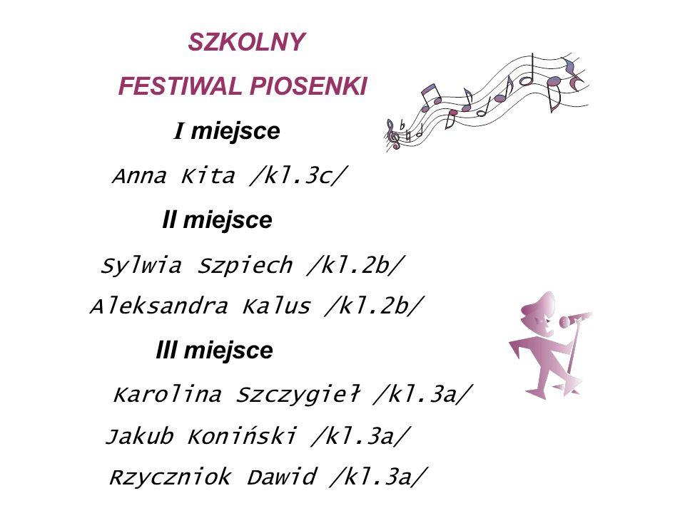 SZKOLNY FESTIWAL PIOSENKI I miejsce Anna Kita /kl.3c/ II miejsce Sylwia Szpiech /kl.2b/ Aleksandra Kalus /kl.2b/ III miejsce Karolina Szczygieł /kl.3a