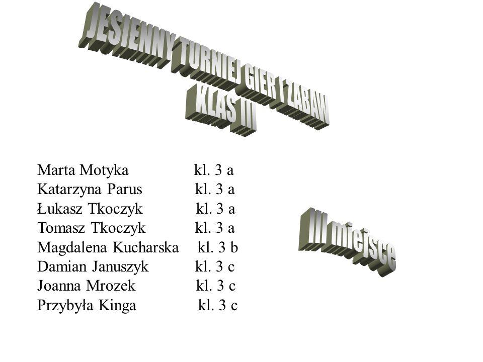Marta Motyka kl. 3 a Katarzyna Parus kl. 3 a Łukasz Tkoczyk kl. 3 a Tomasz Tkoczyk kl. 3 a Magdalena Kucharska kl. 3 b Damian Januszyk kl. 3 c Joanna