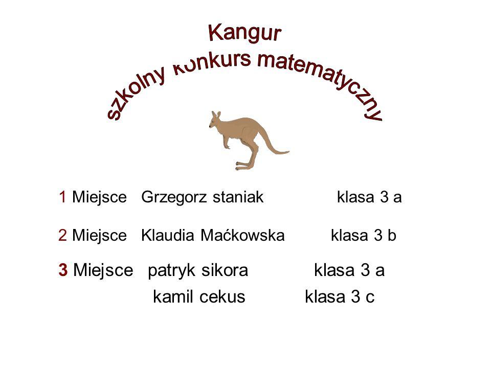 1 Miejsce Grzegorz staniak klasa 3 a 2 Miejsce Klaudia Maćkowska klasa 3 b 3 Miejsce patryk sikora klasa 3 a kamil cekus klasa 3 c