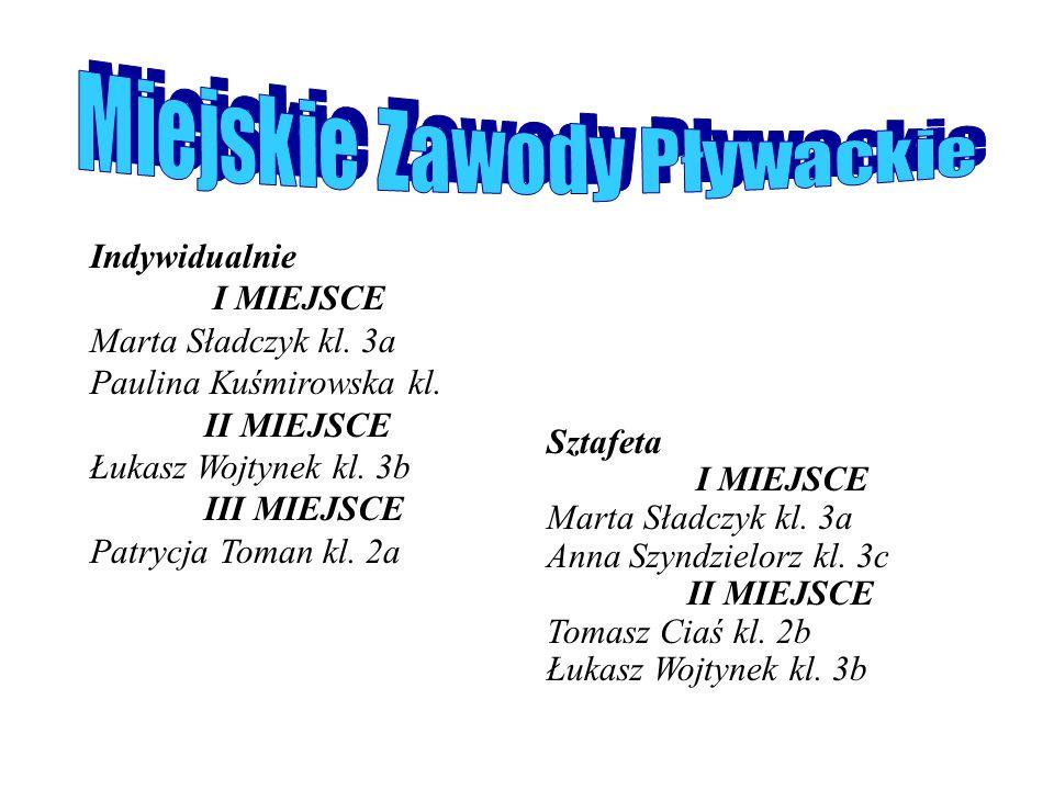klasy I I miejsce Michał Foltys kl.1 c II miejsce Anna Grzesiek kl.