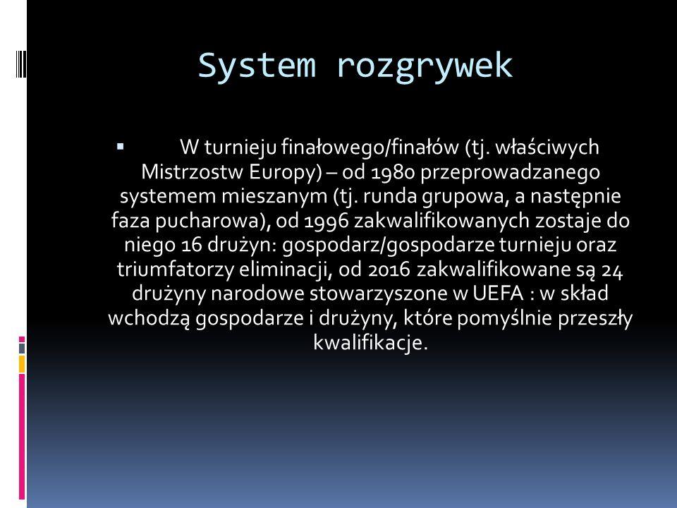 System rozgrywek W turnieju finałowego/finałów (tj. właściwych Mistrzostw Europy) – od 1980 przeprowadzanego systemem mieszanym (tj. runda grupowa, a