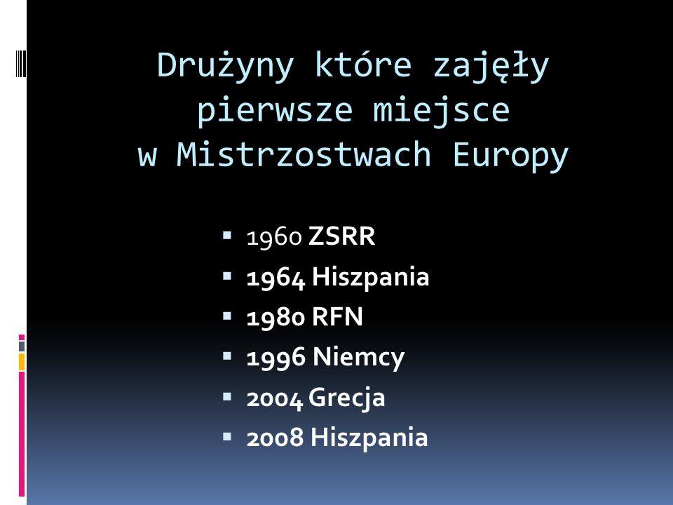 Drużyny które zajęły pierwsze miejsce w Mistrzostwach Europy 1960 ZSRR 1964 Hiszpania 1980 RFN 1996 Niemcy 2004 Grecja 2008 Hiszpania