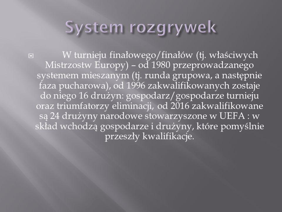 W turnieju finałowego/finałów (tj. właściwych Mistrzostw Europy) – od 1980 przeprowadzanego systemem mieszanym (tj. runda grupowa, a następnie faza pu